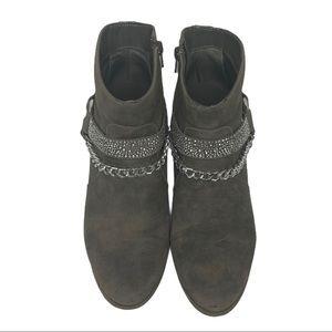 JENNIFER LOPEZ Gray Ankle Boot with Rhinestone 9